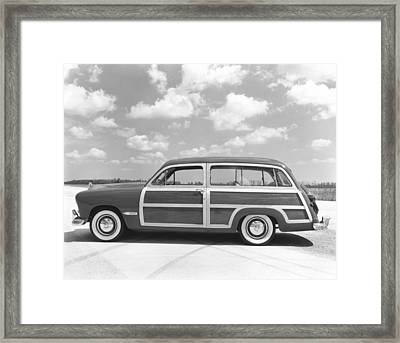 Ford Woody Station Wagon Framed Print by Underwood Archives