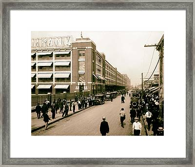 Ford Work Shift Change - Detroit 1916 Framed Print by Mountain Dreams