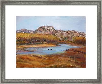 The Little Missouri Framed Print by Helen Campbell