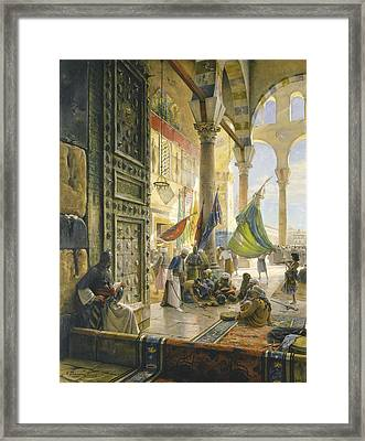 Forecourt Of The Ummayad Mosque, Damascus, 1890 Oil On Panel Framed Print by Gustave Bauernfeind