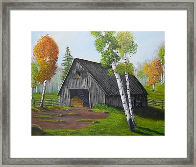 Forest Barn Framed Print by Sheri Keith