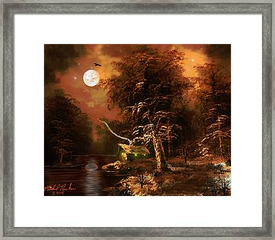 Forest Cabin Framed Print by Michael Rucker