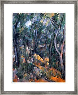 Forest Caves In The Cliffs Above The Cheteau Noir By Cezanne Framed Print by John Peter