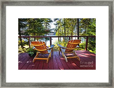 Forest Cottage Deck And Chairs Framed Print by Elena Elisseeva
