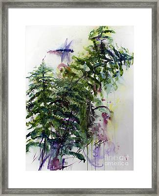 Forest Fern And Dragonfly Framed Print