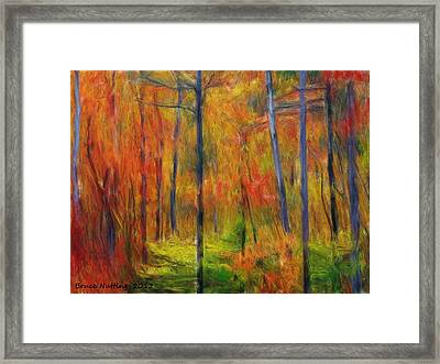 Framed Print featuring the painting Forest In The Fall by Bruce Nutting