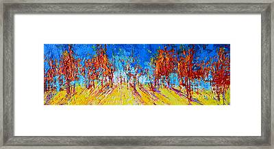 Tree Forest 1 Modern Impressionist Landscape Painting Palette Knife Work Framed Print