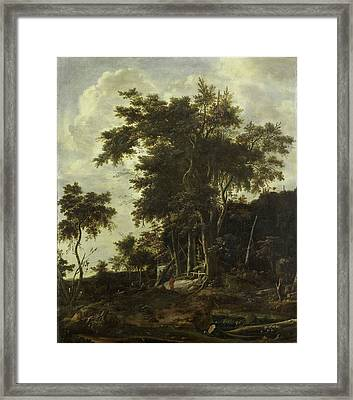 Forest Landscape With A Woodsmans Shed, Roelant Roghman Framed Print by Litz Collection