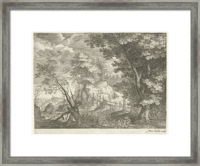 Forest Landscape With Wooden Bridge, Aegidius Sadeler Framed Print by Aegidius Sadeler