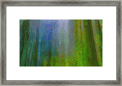 Forest Mood Green And Blue Framed Print