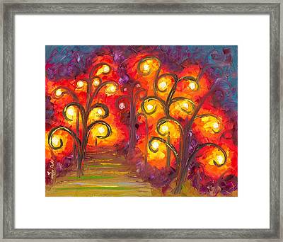 Forest Of Fire Orbs Framed Print by Jessilyn Park