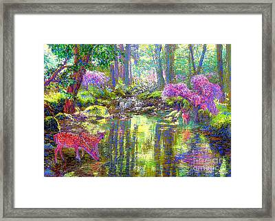 Deer, Forest Of Light Framed Print by Jane Small