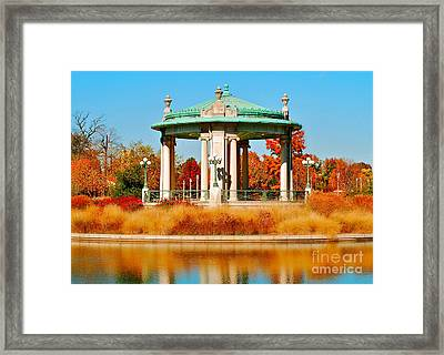 Framed Print featuring the photograph Forest Park Gazebo by Peggy Franz