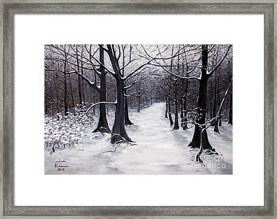Forest Path In Winter Framed Print