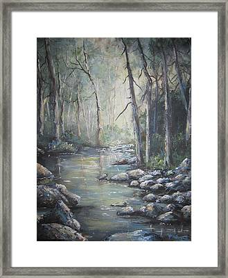 Framed Print featuring the painting Forest Stream by Megan Walsh