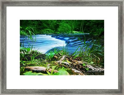 Forest Stream Running Fast Framed Print by Michal Bednarek