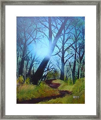 Framed Print featuring the painting Forest Sunlight by Charles and Melisa Morrison