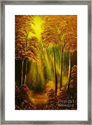 Forest Sunrays- Original Sold -buy Giclee Print Nr 38 Of Limited Edition Of 40 Prints  Framed Print