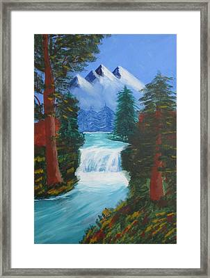 Forest Waterfall Framed Print by Haleema Nuredeen