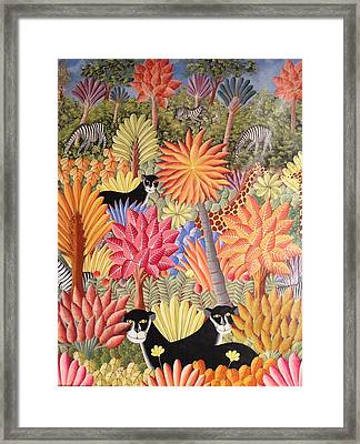 Framed Print featuring the painting Forest With  Black Panthers by Haitian artist