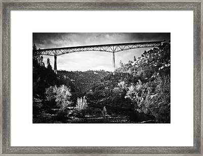 Framed Print featuring the photograph Foresthill Bridge In The Snow 2 by Sherri Meyer