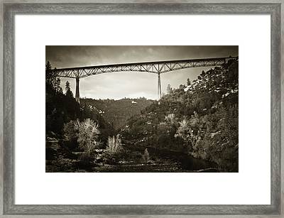 Framed Print featuring the photograph Foresthill Bridge In The Snow #3 by Sherri Meyer