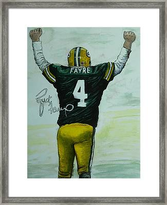 Framed Print featuring the painting Forever Favre by Dan Wagner