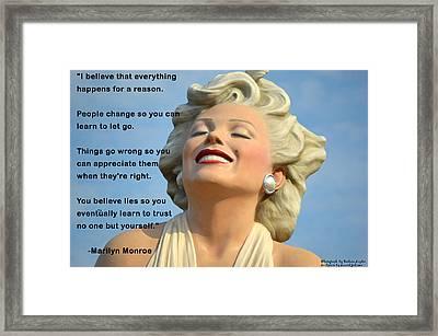 Forever Marilyn I Believe Framed Print by Barbara Snyder