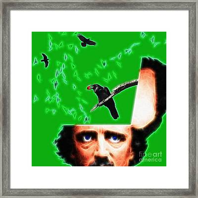 Forevermore - Edgar Allan Poe - Green - Square Framed Print by Wingsdomain Art and Photography
