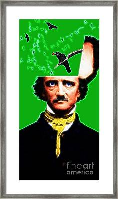 Forevermore - Edgar Allan Poe - Green Framed Print by Wingsdomain Art and Photography