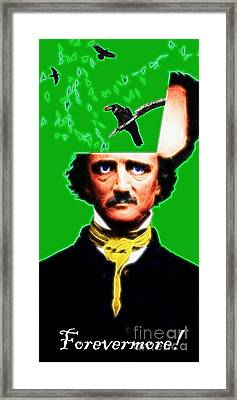 Forevermore - Edgar Allan Poe - Green - With Text Framed Print by Wingsdomain Art and Photography