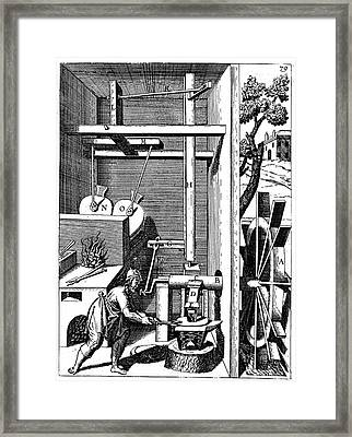 Forge Showing Bellows And Hammer Framed Print