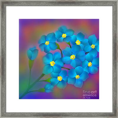 Framed Print featuring the digital art Forget- Me -not Flowers by Latha Gokuldas Panicker