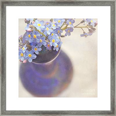 Forget Me Nots In Blue Vase Framed Print by Lyn Randle