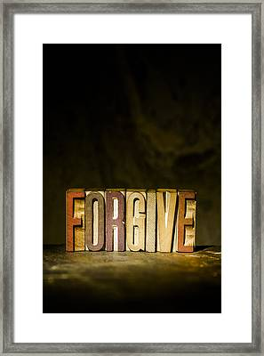 Forgive Antique Letterpress Printing Blocks Framed Print by Donald  Erickson