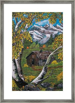 Framed Print featuring the painting Forgotten Cabin  by Sharon Duguay