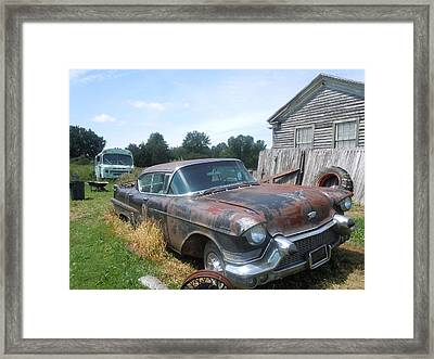 Forgotten Cadillac Framed Print by James Guentner