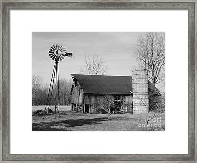 Forgotten Farm In Black And White Framed Print