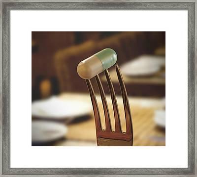 Fork And Capsule Framed Print by Ktsdesign