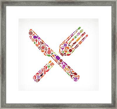 Fork And Knife Food & Drink Royalty Framed Print by Bubaone