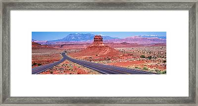 Fork In Road, Red Rocks, Red Rock Framed Print