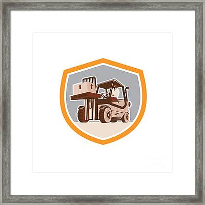 Forklift Truck Materials Handling Logistics Shield Framed Print by Aloysius Patrimonio