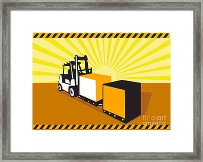 Forklift Truck Materials Handling Retro Framed Print by Aloysius Patrimonio