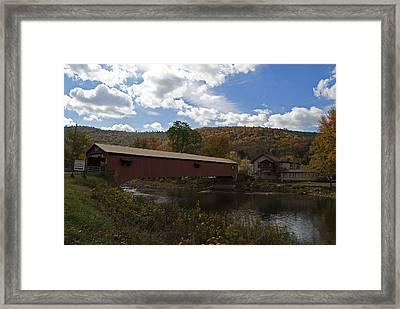 Forksville Covered Bridge Framed Print by Elsa Marie Santoro