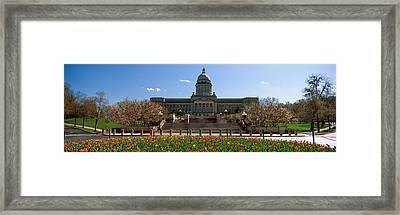 Formal Garden Outside State Capitol Framed Print by Panoramic Images