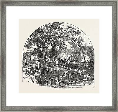 Formation Of A Bridge By The Mormons Framed Print