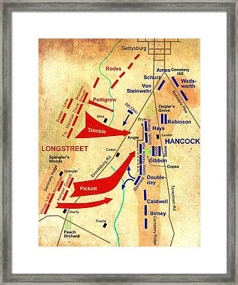 Formational Map Of Pickett's Charge - Battle Of Gettysburg Framed Print by Mountain Dreams