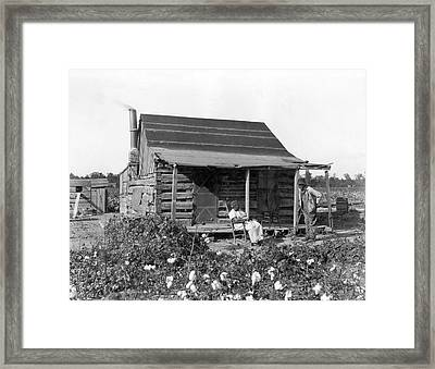 Former Slaves At Their Cabin Framed Print