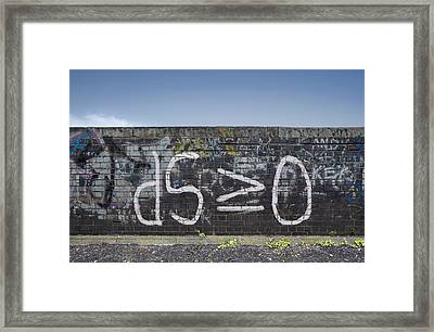 Formula For Entropy Painted On Old Wall Framed Print