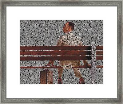 Forrest Gump Quotes Mosaic Framed Print by Paul Van Scott